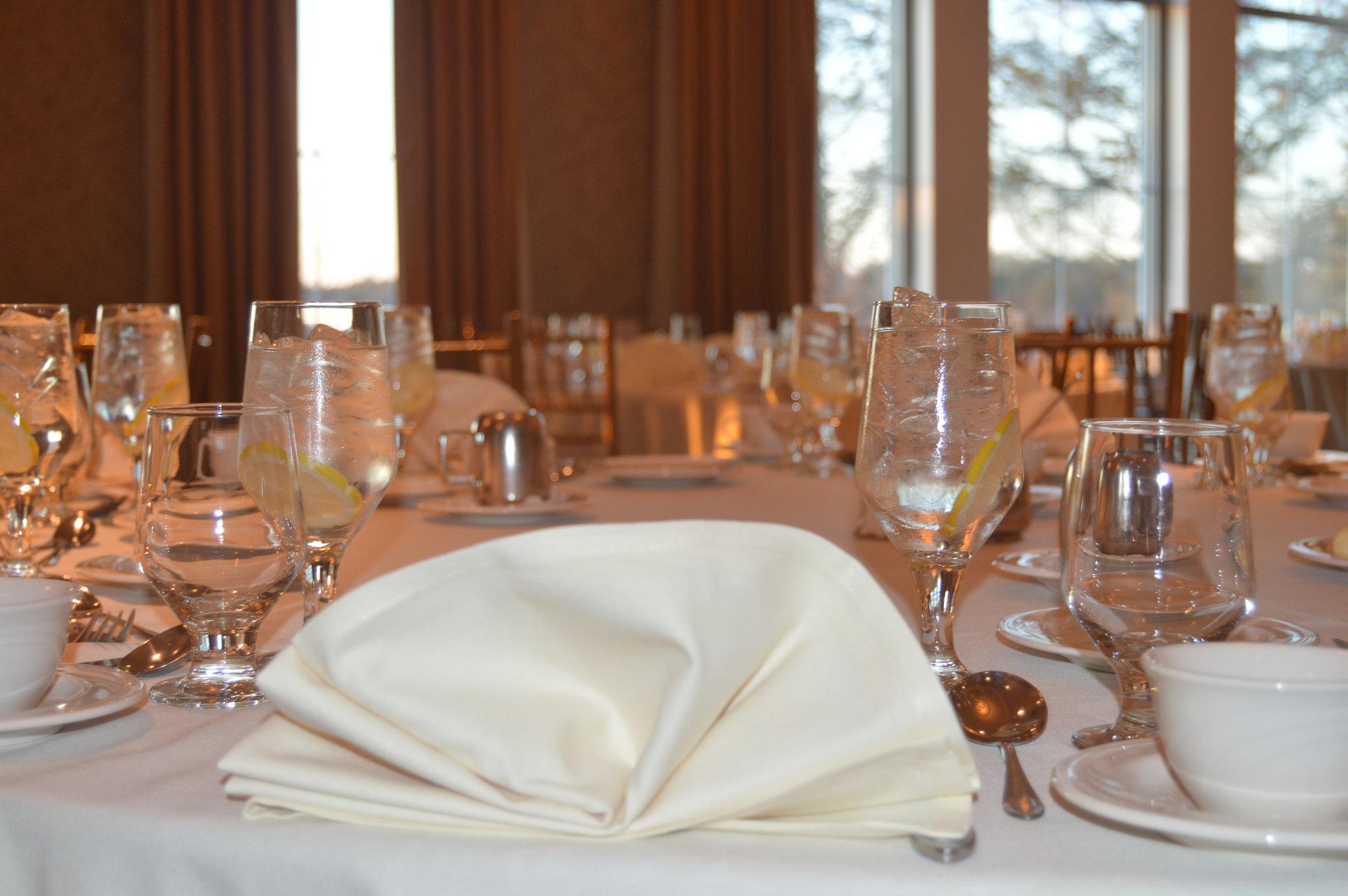 Table setting for etiquette dinner